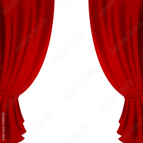 Vector Illustration of a Red Theater Curtain