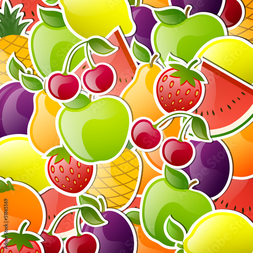 Sticker Vector Illustration of an Abstract Background with Glossy Fruits