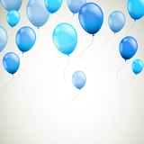 Vector Illustration of an Abstract Background with Blue Balloons