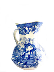 White jar with blue picture