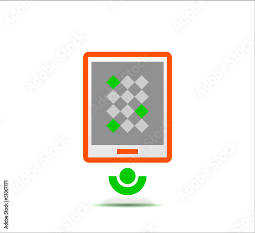 Simple stylized colorful icon - tablet