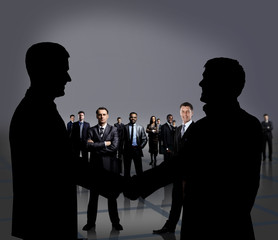 Businesspeople figures. Handshake.
