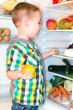 Kleinkind am Kühlschrank
