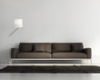 Contemporary elegant living room, brown leather sofa, dark rug