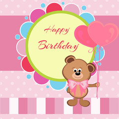 Happy birthday card with teddy bear and balloons