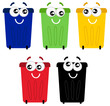 Funny colorful recycle bin mascots isolated on white