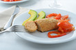 Salmon patty with vegetables