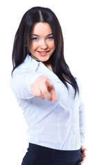 Business woman point finger at you. Isolated on