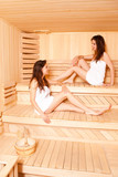 Twin Sisters In Enjoying In Sauna