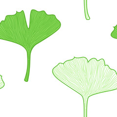 Gingko Leaves seamless pattern - interior wallpaper