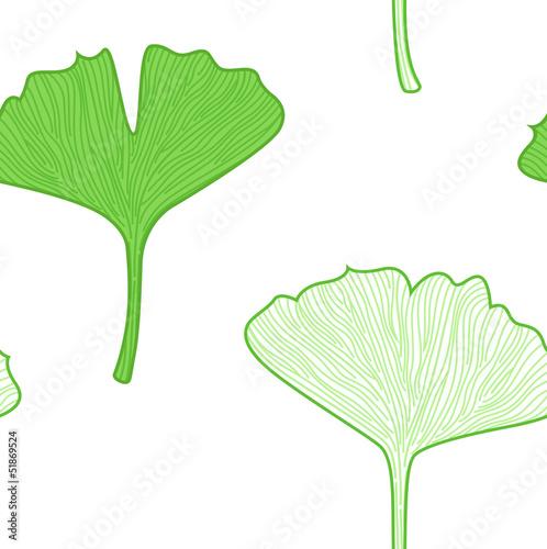 Gingko Leaves seamless pattern - interior wallpaper © WellnessSisters