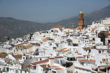 The white town of Competa in the Sierra Almijara Spain