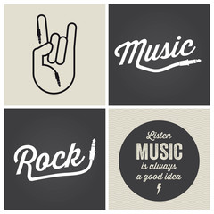 logo music design elements with font type and illustration