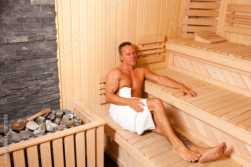 Body Builder Relaxing In Sauna