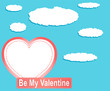 Valentine heart balloons and clouds against blue sky