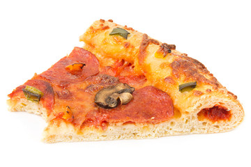Slice of pizza with a missing bite