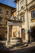 Ancient well on Piazza Grande square in Montepulciano, Tuscany