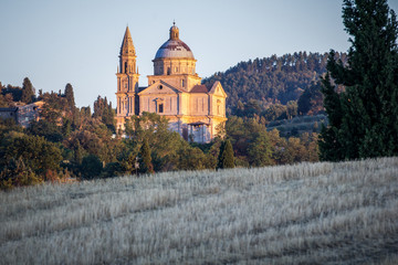 San Biagio church at sunset outside Montepulciano, Tuscany