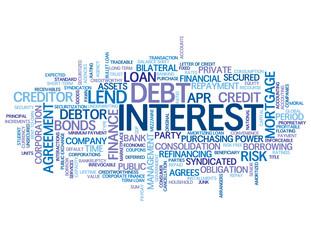 """INTEREST"" Tag Cloud (rate credit loan money finance bank debt)"