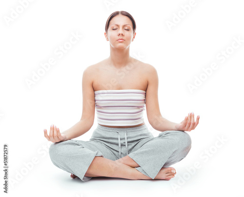 Woman in sports bra on yoga pose, isolated