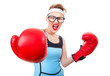 Young sport woman wearing boxing gloves