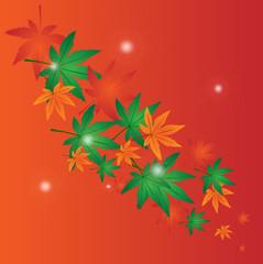 sfondo con foglie con sfere luminose