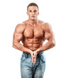 Bodybuilder isolated on white. Muscle man
