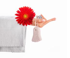 Woman holding bath - bathing, showering