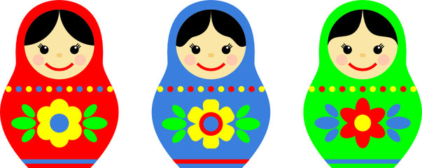 russian matryoshka with different patterns and colors