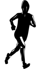 Isolated Vector Illustrated Silhouette of Woman Running
