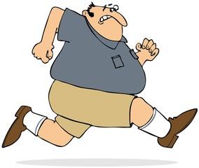 Fat man sprinting