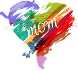 Mother's day illustration,heart with paint strokes