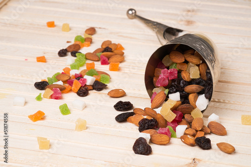 Dried fruits on a wooden surface
