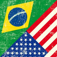Brazil and USA grunge Flag