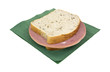 Mortadella rye bread sandwich on napkin