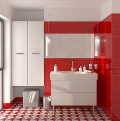 Salle d'eau rouge et blanc