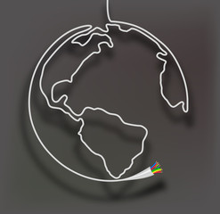 Cable globe. Vector illustration.