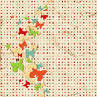 Butterfly design over vintage paper, dot pattern