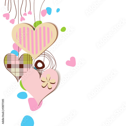 Love card, hanging decorative hearts