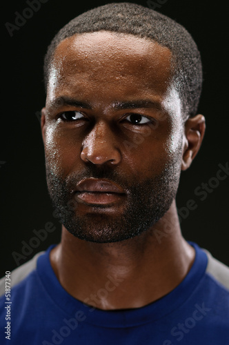 African American Athlete Portrait With Blank Expression