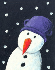 Snowman in the night