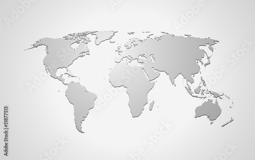 Landkarte *** Weltkarte Grau