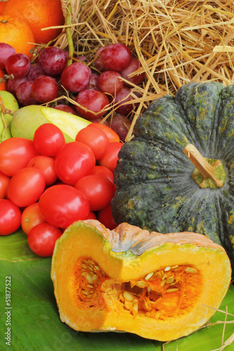 Fresh vegetables - tomatoes, pumpkins.