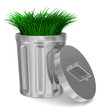 Garbage basket and grass on white background. Isolated 3D image