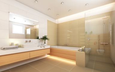 Bright Bathroom With Candels