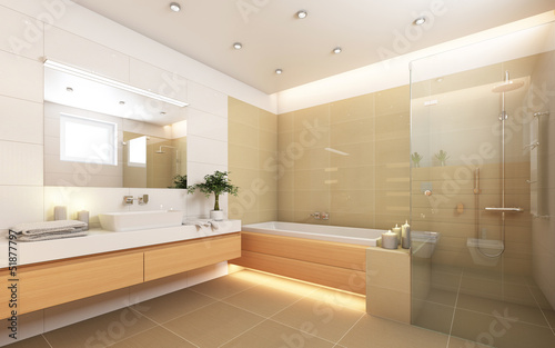 canvas print picture Bright Bathroom With Candels