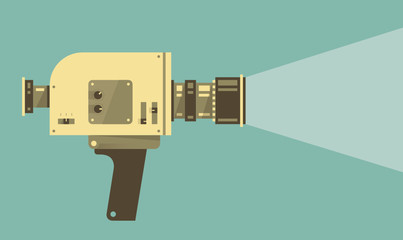 Vintage video camera with light. Vector illustration