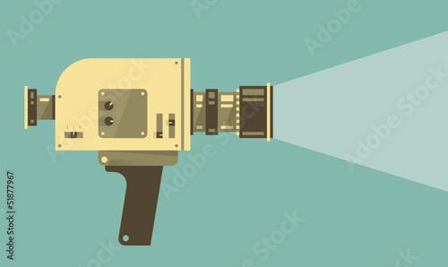 Vintage video camera with light. Vector illustration