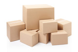 Cardboard boxes on white, clipping path