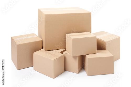 Leinwanddruck Bild Cardboard boxes on white, clipping path